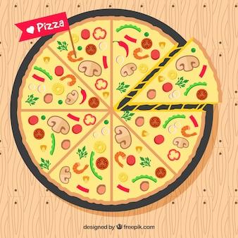 Broszura z pizzy w płaskim deseniu z dodatkiem składników
