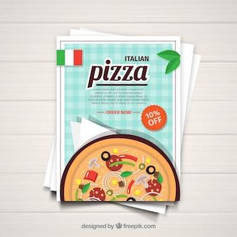 Broszura z pizzy w płaskim deseniu