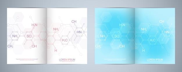 Broszura z symbolami chemii abstrakcyjnej z wzorami chemicznymi i strukturami molekularnymi, koncepcją i pomysłem na naukę i technologię innowacji.