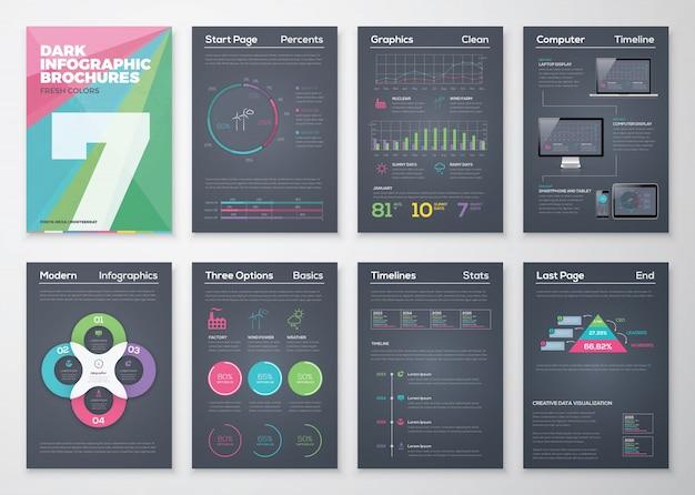 Broszury infograficzne na czarnym tle