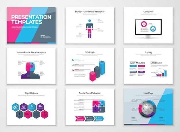 Broszury prezentacji biznesowych i elementy wektorowe infografiki