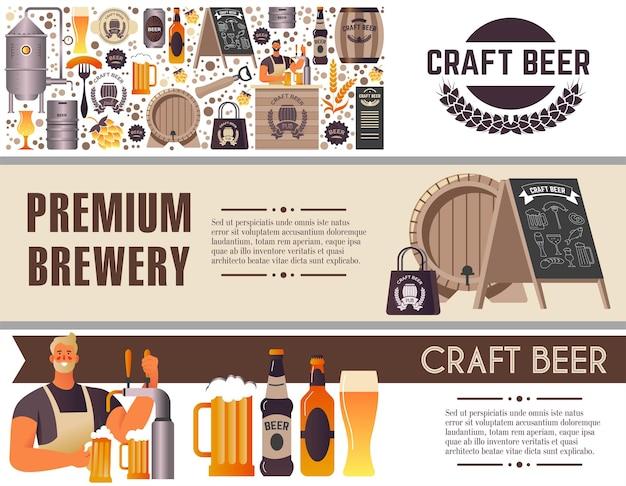 Browar premium, sklep z piwem rzemieślniczym lub wektor sklepu