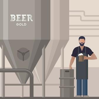 Browar we własnym browarze z piwem w ręku pokazujący produkcję piwa w pobliżu beczek i wyposażenia zakładu, ilustracja płaska.