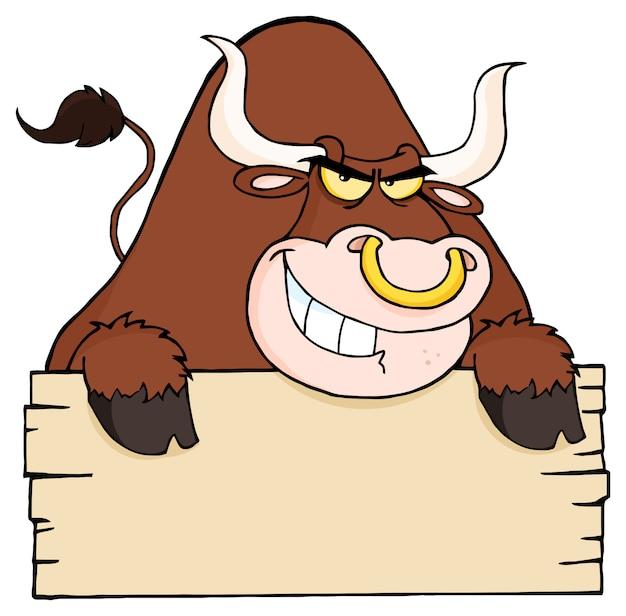 Brown bull i pusty znak