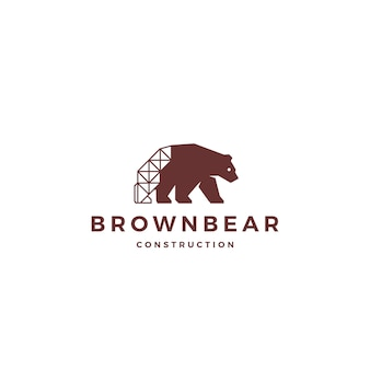 Brown niedźwiedzia budowy loga ikony wektorowa ilustracja