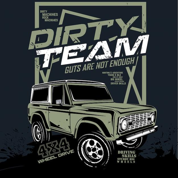 Brudna drużyna, ilustracja samochód przygodowy