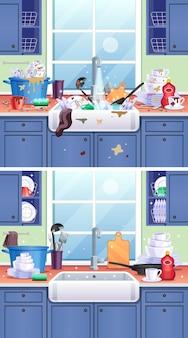 Brudna kompozycja kuchenna z talerzami, kubkami i chochlą płaską