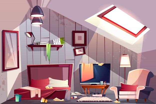 Brudna sypialnia na poddaszu lub pokój gościnny na poddaszu z porozrzucanymi ubraniami, poplamione ściany