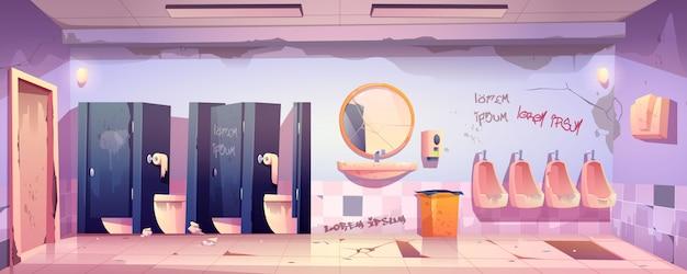 Brudna toaleta publiczna z brudnymi miskami toaletowymi