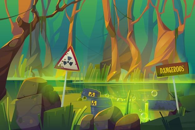Brudne bagno zanieczyszczone ściekami i śmieciami