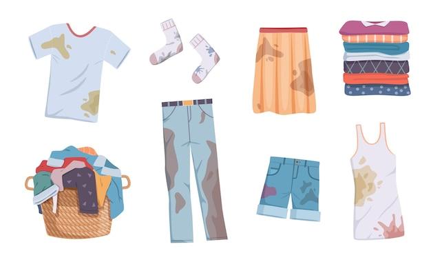 Brudne i czyste ubrania. kupa odzieży z plamami w koszu i wypranej odzieży, stos różnych ręczników, podkoszulek i dżinsów, szortów i spódnicy do prania wektor płaski na białym tle zestaw