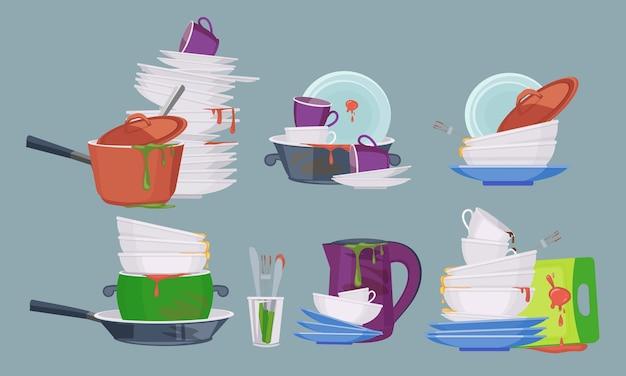 Brudne naczynie. kuchnia restauracyjna puste elementy do mycia i czyszczenia brudnych talerzy kolekcja kubków