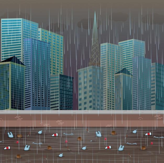Brudne zanieczyszczenie wody deszczową nocą