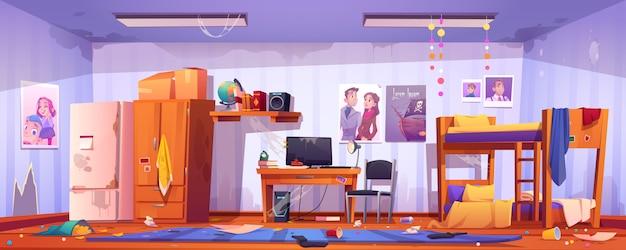 Brudny hostel lub pokój wieloosobowy dla studentów, wnętrze