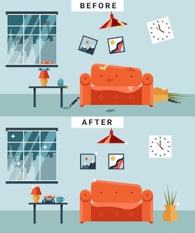 Brudny i czysty pokój przed i po sprzątaniu. śmieci i nieporządek, filiżanka i zdjęcie, zdezorganizowane mieszkanie z kreskówek.
