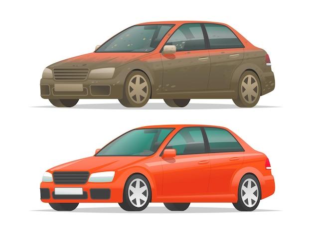 Brudny i czysty samochód na białym tle. pojazd przed i po myciu samochodu. ilustracja wektorowa w stylu kreskówki