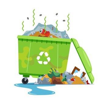 Brudny, śmierdzący kosz na śmieci na białym tle. płaska ilustracja.