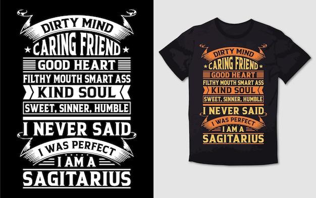 Brudny umysł, troskliwy przyjaciel, dobry projekt koszulki typografii duszy