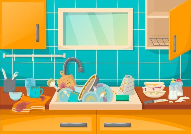 Brudny zlew z naczyniami w nowoczesnej kuchni z meblami i naczyniami