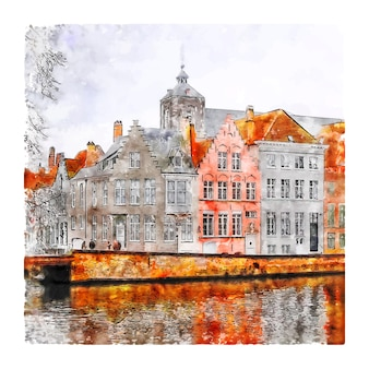 Brugia, belgia szkic akwarela ręcznie rysowane ilustracja
