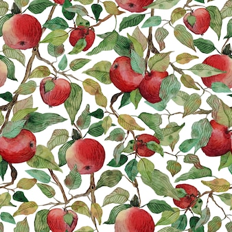 Brunch akwarela jabłko wzór