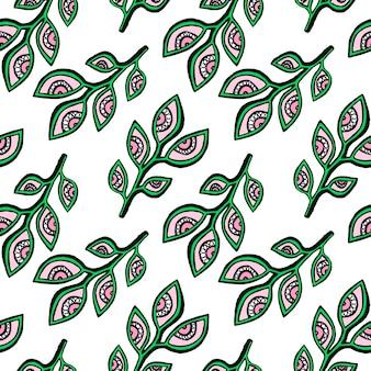 Brunch z oczami liści ręcznie rysowane wzór. tło dla wzór, tło strony internetowej, tapety, tekstury powierzchni, wypełnia. wektor