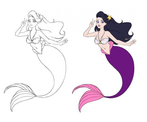 Brunetka dziewczynka z fioletowy ogon ryby i szkic