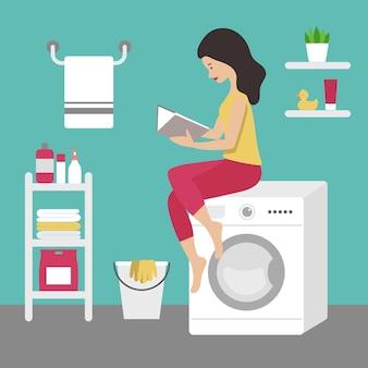 Brunetka gospodyni siedzi na pralce i czyta książkę. wnętrze łazienki, niebieskie ściany. na półce jest proszek do prania, ręczniki, butelki, roślina, kaczka i śmietana. płaski wektor