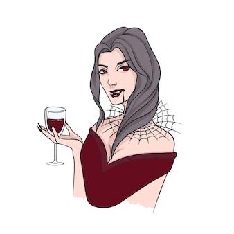 Brunetka kobieta z kłami i kołnierzem zrobionym z pajęczyny pije krew z kieliszka do wina. przerażająca postać fikcyjna na białym tle. ilustracja wektorowa kolorowe w realistycznym stylu.