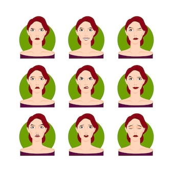 Brunetka kobieta zestaw ilustracji wektorowych. brązowowłosa dziewczyna młoda kobieta w stylu cartoon, portrety, twarze z różnymi wyrazami twarzy, emocje. łatwy do modyfikacji. projekt kolekcji postaci.