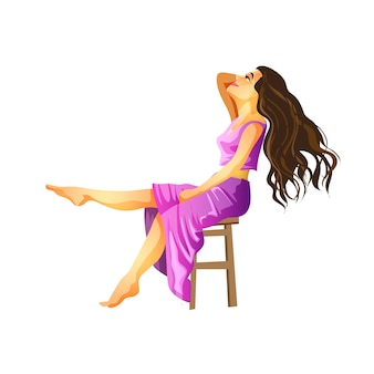 Brunetka z długimi włosami siedzi w fioletowej sukience z odrzuconą głową. brunetka siedzi i uśmiecha się. na białym tle ilustracja w stylu cartoon.