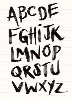 Brushpen czcionka napis komiks. alfabet wektorowy.