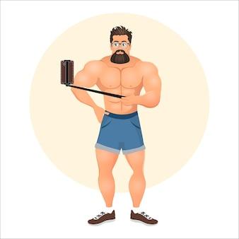 Brutalny młody brodaty mężczyzna hipster z okularami. moda wektor ilustracja eps 10 na białym tle. subkultura hipsterów.