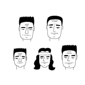 Brutalny zestaw karykatur męskiej twarzy doodle line art