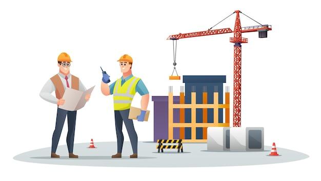 Brygadzista budowlany i postać inżyniera na placu budowy z ilustracją żurawia wieżowego