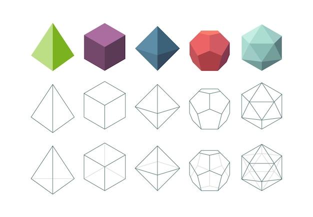Bryła platońska. kolekcja wektorów geometrycznych kształtów obiektów 3d. forma piramidy wielokąta, figury geometryczne platoniczne i wielościanowe