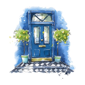Brytyjskie tradycyjne drzwi wejściowe do domu, malarstwo akwarelowe