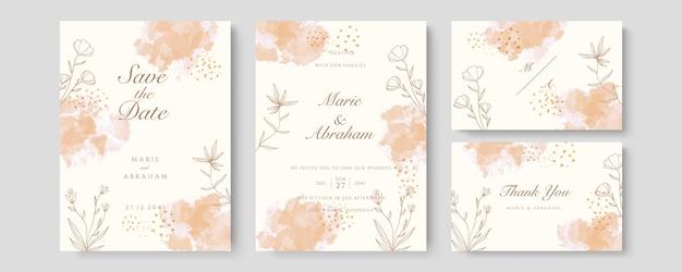 Brzoskwinia luksusowy ślub karta wektor zaproszenie. zaproś projekt okładki z akwarelowym rumieńcem i teksturą złotej linii