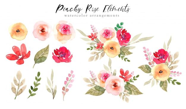 Brzoskwiniowe róże elementy akwareli