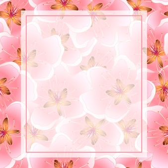 Brzoskwiniowy kwiat rama tło wiśni