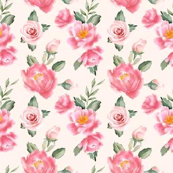 Brzoskwiniowy kwiatowy wzór akwarela