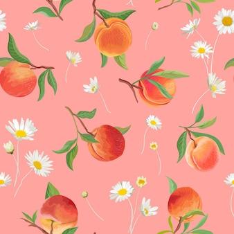 Brzoskwiniowy wzór z stokrotka, tropikalnych owoców, liści, kwiatów w tle. ilustracja wektorowa bezszwowa tekstura w stylu przypominającym akwarele na lato okładka, tropikalna tapeta, tło, zaproszenie na ślub