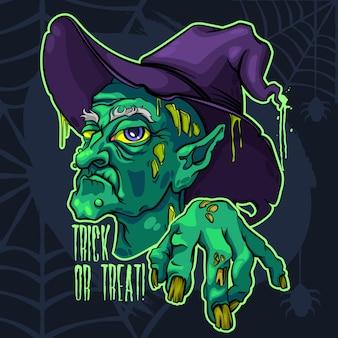 Brzydka straszna stara czarownica halloween
