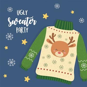 Brzydka świąteczna impreza z swetrem z głową jelenia