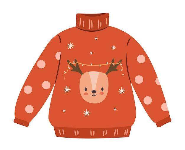 Brzydki sweter bożonarodzeniowy na białym tle. śliczny sweter zimowy. płaska ilustracja wektorowa