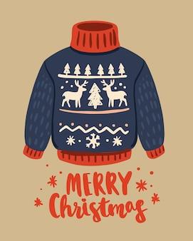 Brzydki świąteczny sweter ze wzorem jelenia