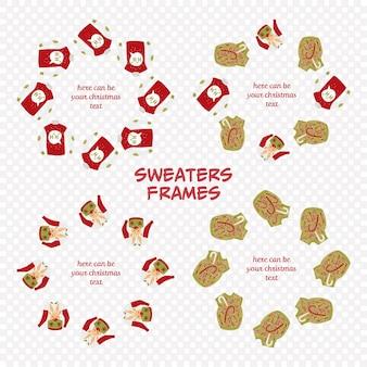 Brzydki zestaw ramek na swetry dla tekstu gretting