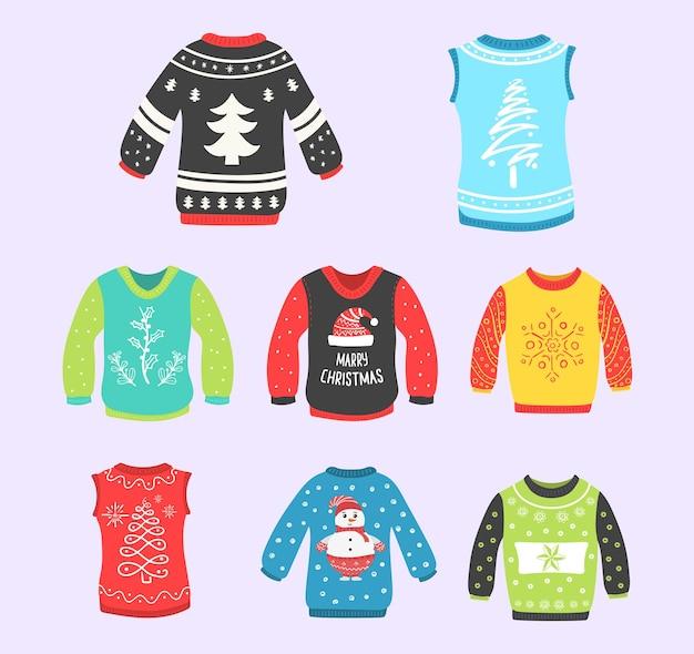 Brzydkie swetry ustawione na imprezę świąteczną zabawną imprezę nosić świąteczną kolekcję tkanin noworocznych
