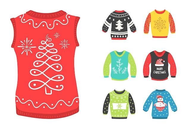 Brzydkie swetry ustawione na przyjęcie świąteczne zabawa nosić świąteczną kolekcję tkanin noworocznych