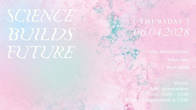 Bubble art science szablon wektor uczciwy estetyczny baner reklamowy